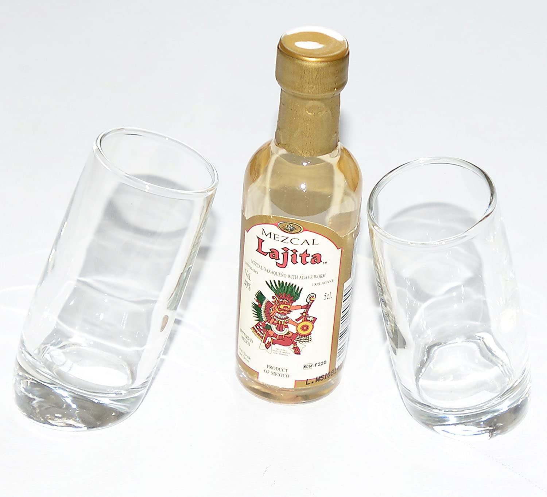 Par de nombre del evento first vasos de chupito (60 ml) con Mezcal Lajita 5 cl en miniatura (con tornillo sin fin): Amazon.es: Hogar