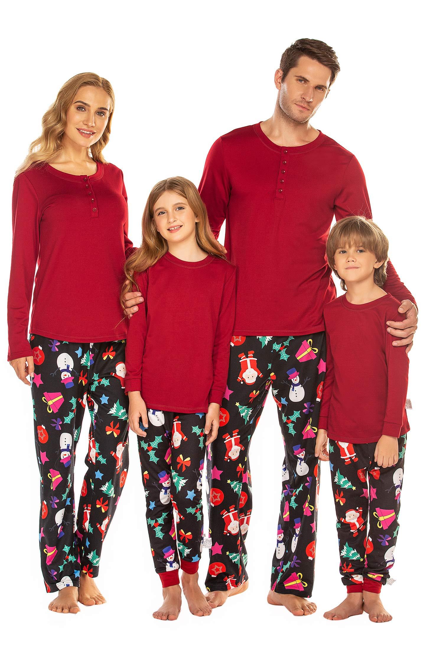 Balancora Pyjama Femme Homme Noël Coton Ensemble de Pyjama Vêtement de Nuite à Manches Longue avec Pantalon Longue S-XXL