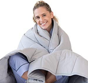 LUNA Adult Weighted Blanket | 17 lbs - 60x80 - Queen Size Bed | 100% Oeko-Tex Certified Cooling Cotton & Premium Glass Beads | Designed in USA | Heavy Cool Weight for Hot & Cold Sleepers | Light Grey