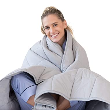 LUNA Weighted Blanket (15 lbs - 60x80 - Queen Size) – Organic Cooling Cotton & Premium Glass Beads – Designed in USA – Heavy Cool Weighted Blanket for Hot & Cold Sleepers – Kids or Adult – Grey