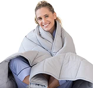 Luna Adult Weighted Blanket - Individual Use - 15 Lbs - 60x80 - Queen Size Bed - 100% Oeko-Tex Cooling Cotton & Glass Beads - USA Designed - Heavy Cool Weight - Light Grey