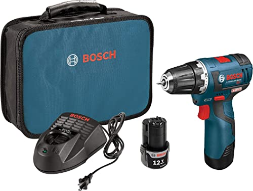 Bosch PS32-02 Cordless Drill Driver - 12V Brushless Compact Drill with 2 Lithium Ion Batteries, Charger Soft Carrying Case