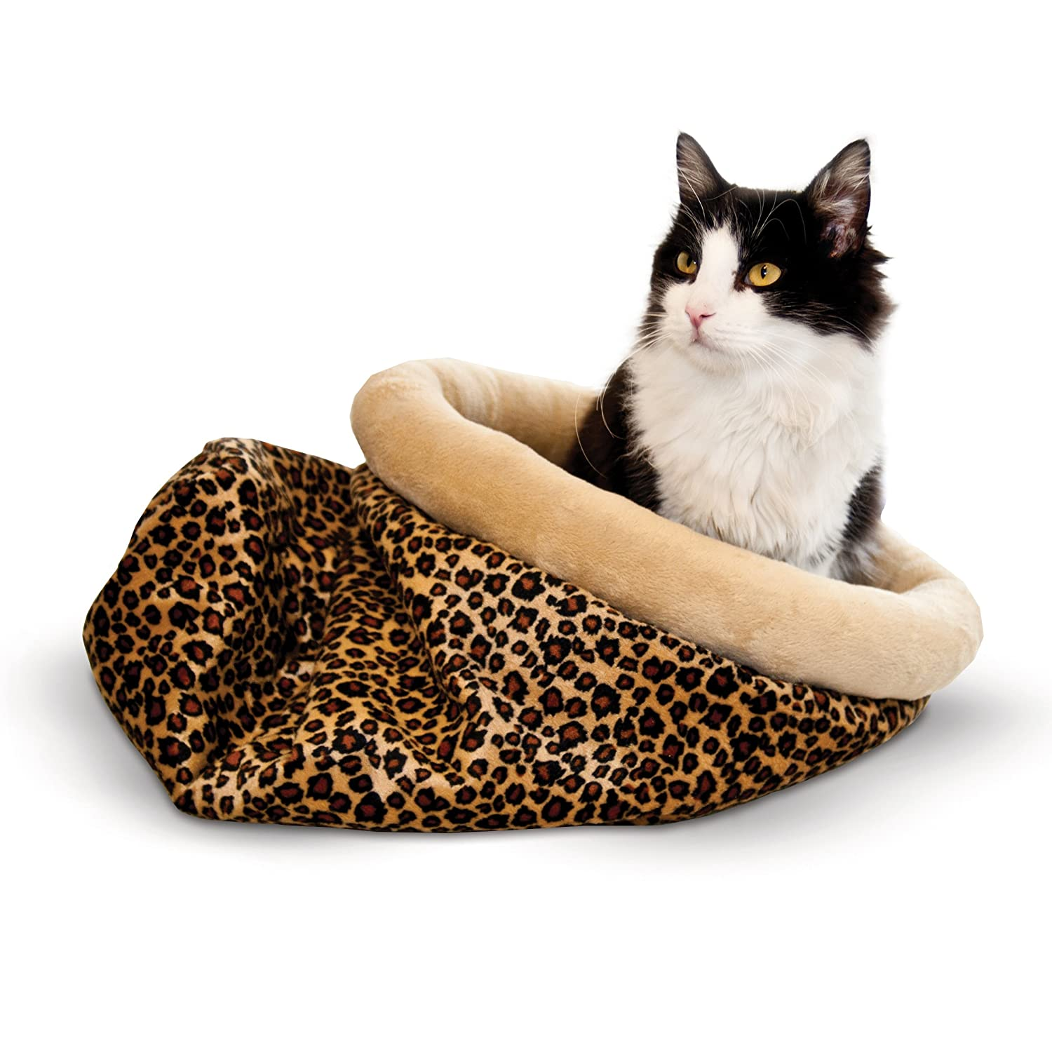Leopard K&H Pet Products Self-Warming Kitty Sack Leopard 15  x 18
