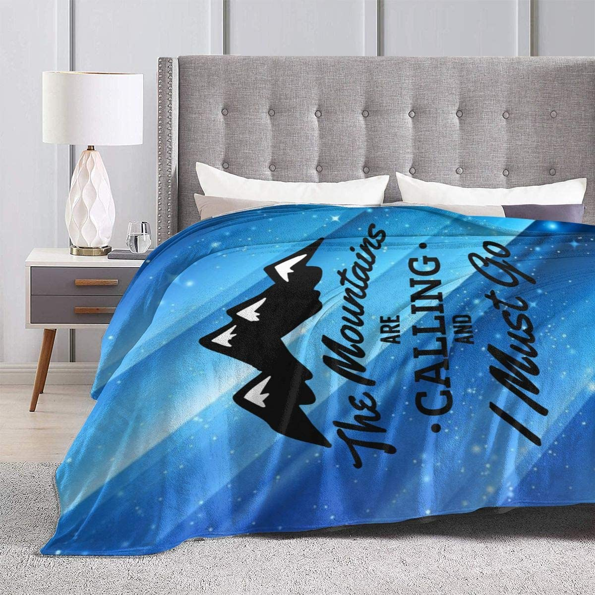 The Mountains Are Calling and I Must Sofa Fleece Blanket 50x60; 60x80 Made In US