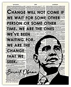 Barack Obama - Change Will Not Come If We Wait… Dictionary Wall Art Print: 8x10 Unframed Picture For Home, Office, Dorm & Bedroom Decor - Great Motivational and Inspirational Gift Idea Under $15