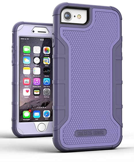 differently 9b76a d6c8d Encased iPhone 8 Case Purple - Dual Layer Tough Case w/Built in Screen  Protector (American Armor²) Strong Heavy Duty, Rugged Hybrid Armor