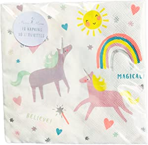 Magical Unicorn's & Rainbows Themed Party Beverage Napkins 16 Count