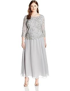 f4423068e05 Alex Evenings Women s Plus Size Long A-Line Rosette Dress with Short ...