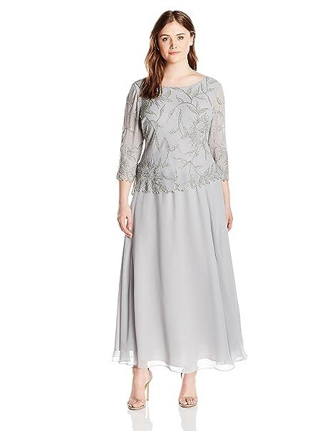 2d588fa59cb2d J Kara Women s Plus Size Long Scoop Neck Dress with 3 4 Sleeve Beaded Top