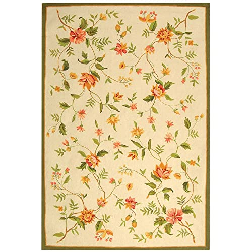 Safavieh Chelsea Collection HK263A Hand-Hooked Ivory Premium Wool Area Rug 6 x 9