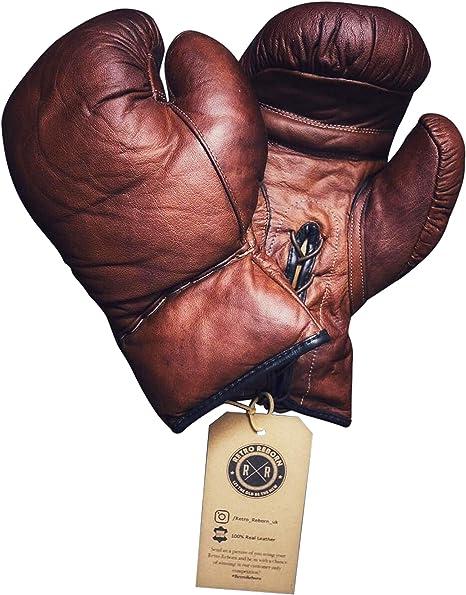 Guantes de boxeo para adultos, estilo retro, piel marrón reborn estilo vintage, 340 g: Amazon.es: Deportes y aire libre