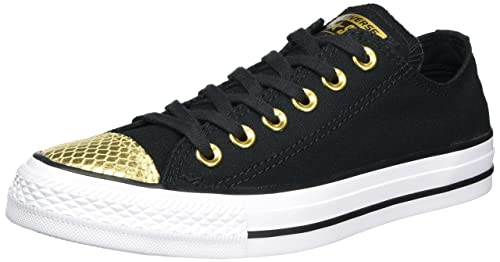 Converse All Star Metallic Toecap, Zapatillas para Mujer, Multicolor (Black/Gold/White 17), 36 EU