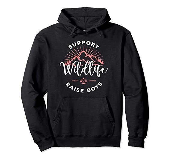 aaa23805 Unisex Womens Support Wildlife Raise Boys Hoodie For Mom Mother 2XL Black