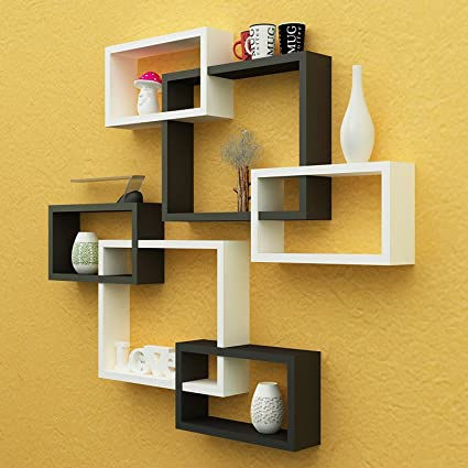 Go2Buy Decor Wall Decoration Shelf Rack Set of 6 Intersecting ...
