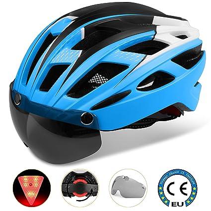 Casco bicicleta/Casco Bicic con luz,Certificado CE, casco bicicleta adulto con Visera