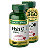 Fish Oil by Nature's Bounty, Dietary Supplement, Omega-3, Supports Heart Health, 1200 mg Twin Packs, 360 Rapid Release Liquid Softgels