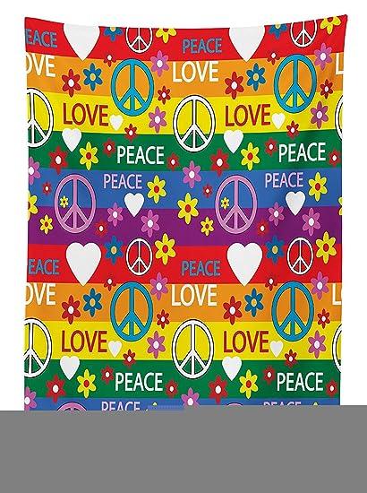 Amazon Com Groovy Decorations Tablecloth Heart Peace Symbol Flower