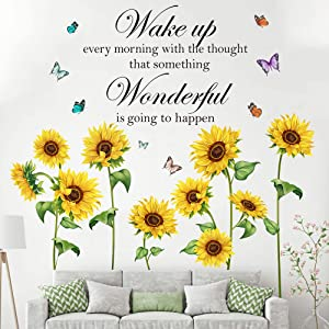 Sunflower Wall Decal Stickers,Inspirational Wall Decals Quotes Saying Removable Vinyl Plant Butterfly Flower Wall Decals for Nursery Bedroom Bathroom Classroom Office Outdoor Wall Art Decor