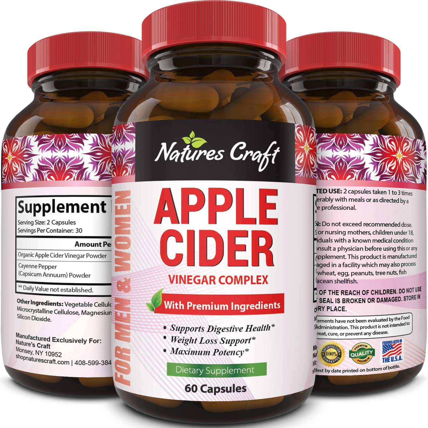 Natures Craft Apple Cider Vinegar Pills – For Weight Loss ACV Capsules Extra Strength Fat Burner Natural Supplement Pure Detox Cleanse Appetite Suppressant Immune Booster – for Women and Men 60 caps: Health & Personal Care