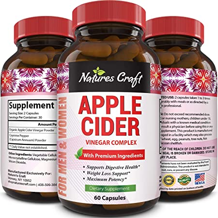 Amazon Com Natures Craft Apple Cider Vinegar Pills For Weight Loss Acv Capsules Extra Strength Fat Burner Natural Supplement Pure Detox Cleanse Appetite Suppressant Immune Booster For Women And Men 60