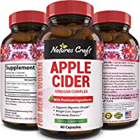 Natures Craft Apple Cider Vinegar Pills – For Weight Loss ACV Capsules Extra Strength Fat Burner Natural Supplement Pure Detox Cleanse Appetite Suppressant Immune Booster – for Women and Men 60 caps