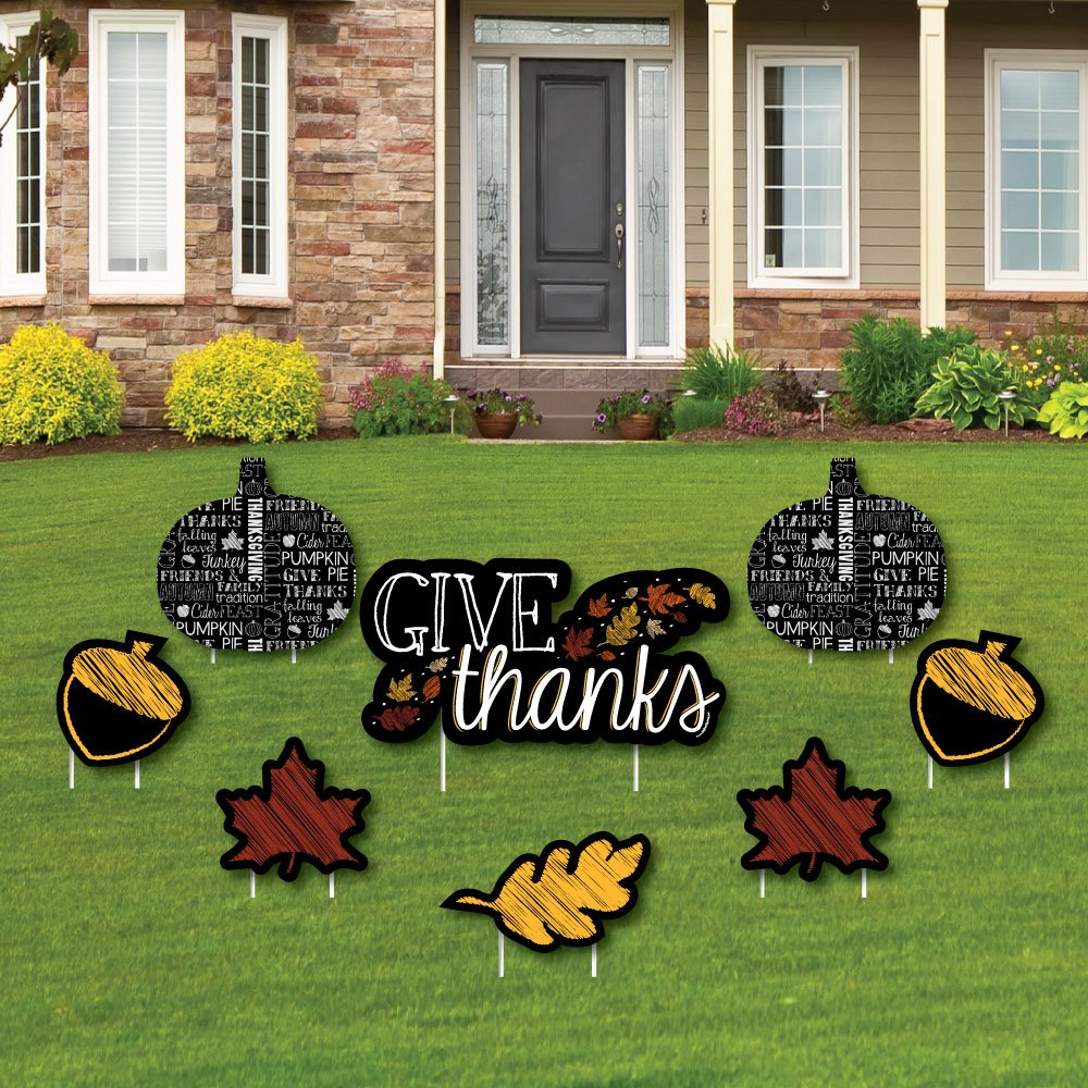Amazon.com: Give Thanks - Yard Sign & Outdoor Lawn Decorations ...