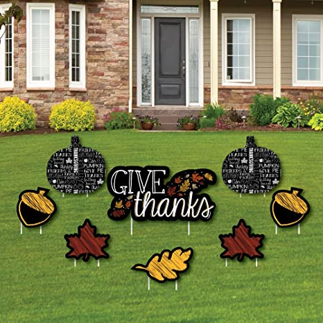 give thanks yard sign outdoor lawn decorations thanksgiving yard signs set of - Christmas Lawn Decorations Amazon