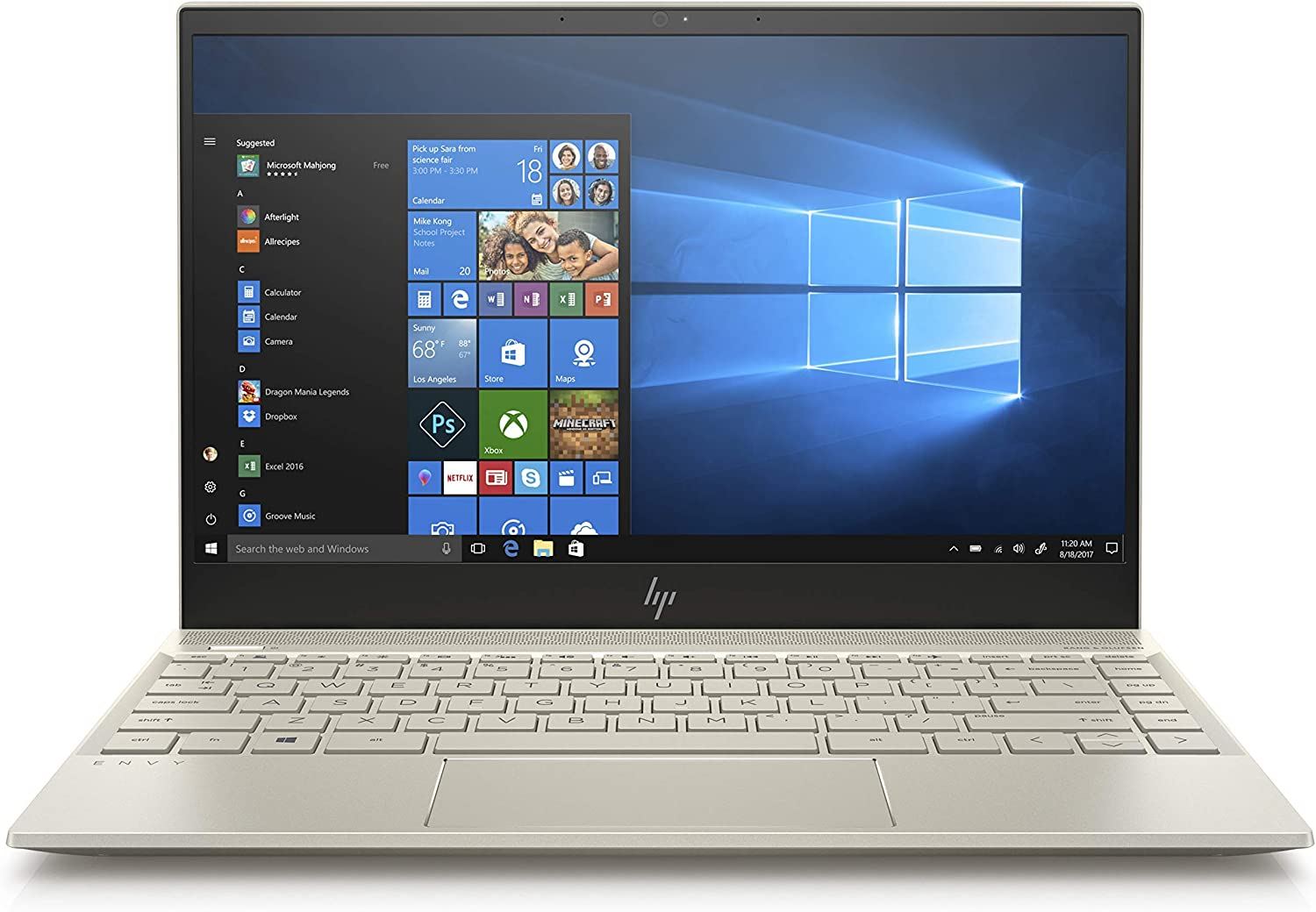 HP Envy 13-AH0051WM, 13.3in Full HD Laptop, Intel Core i5-8250U, 8GB RAM, 128GB SSD, Intel UHD 620, Windows 10 Pale-Gold (Renewed)