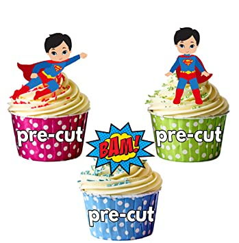 Pre Cut Superman Callouts Super Hero Mix Edible Cupcake Toppers