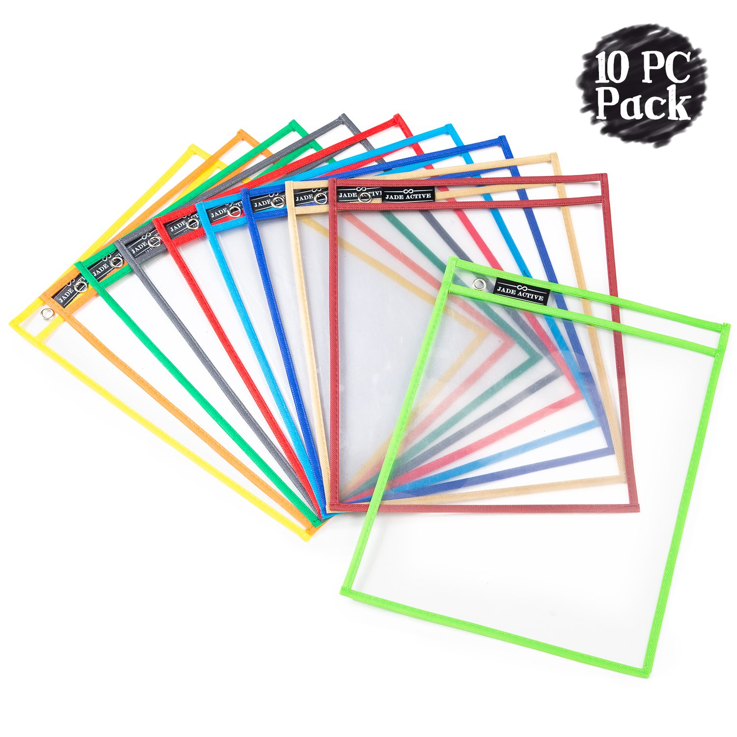 Dry Erase Pockets - Reusable + Oversized - Size 10 X 13 inches - 10 Pockets for Adults and Children - Mixed Colors - Ideal to use at School or at Work