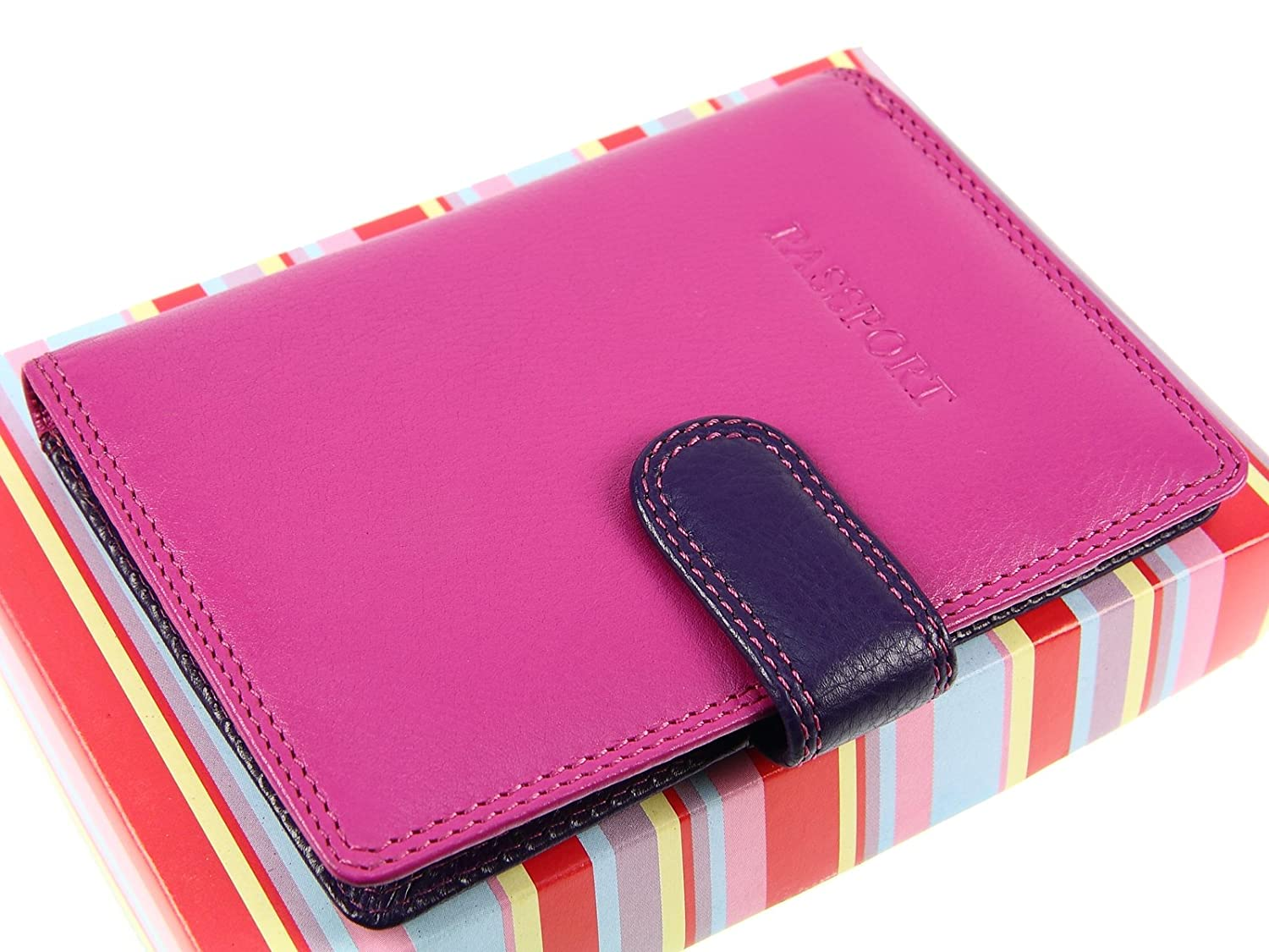 Berry Multi RB75 Passport /& Credit Cards Leather Holder Wallet Cover Case By Visconti