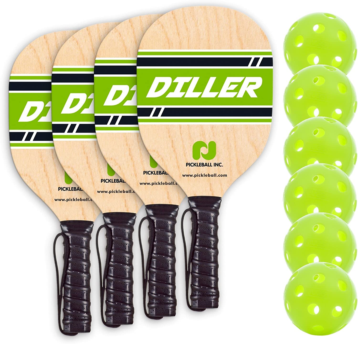 Diller Pickleball Paddle 4 Player Bundle (Set Includes 4 Paddles & 6 Balls) : Sports & Outdoors