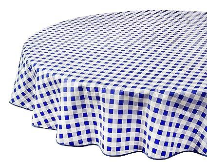 Vinyl Tablecloth Round Tablecloths Plastic Tablecloth Indoor Outdoor Blue  Checkered 60u0026quot; ...