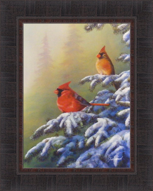 "Cardinals with a winter cottage Art print 2.5/""x3.5/"""