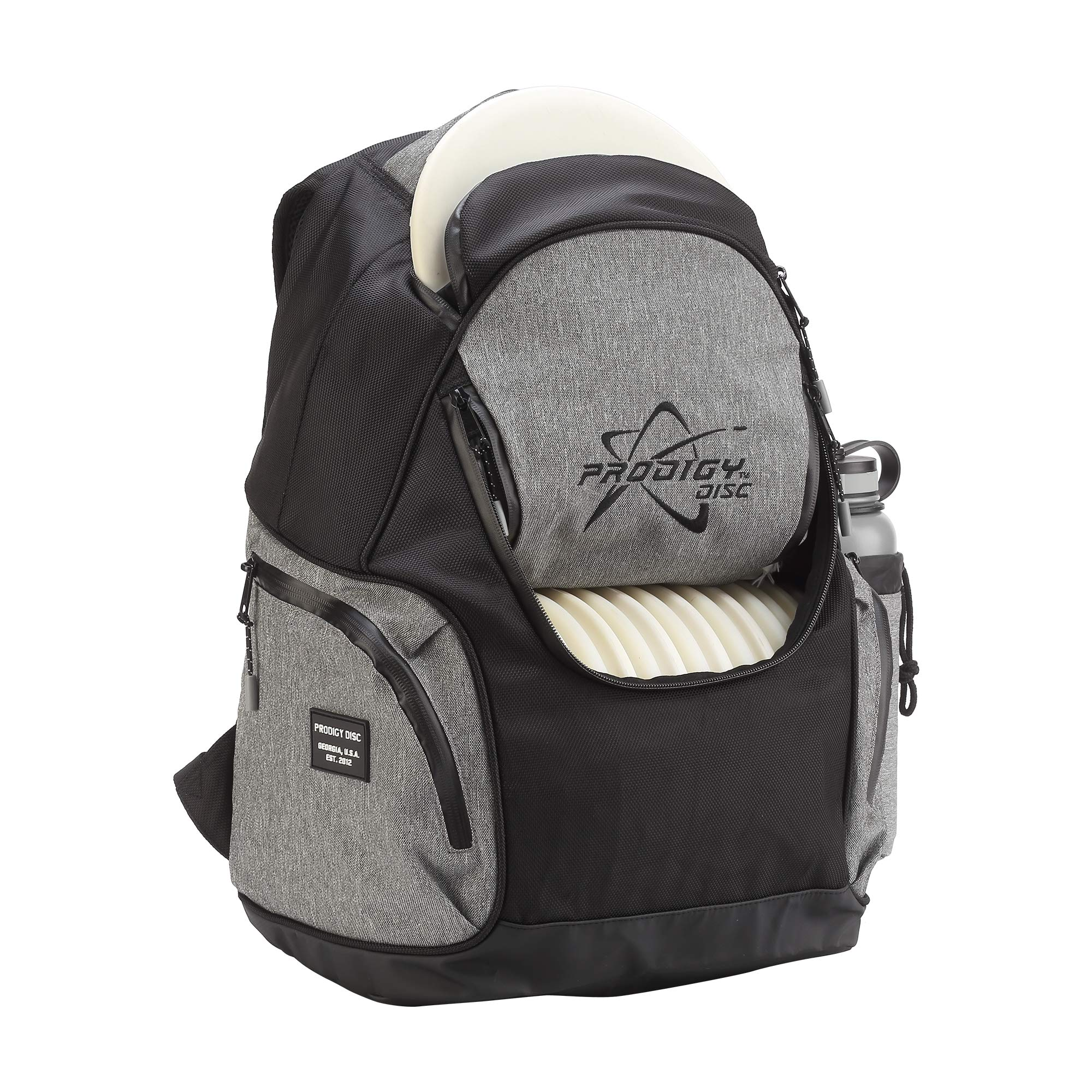 Prodigy Disc BP-3 V2 Disc Golf Backpack - Fits 17 Discs - Beginner Friendly, Affordable (Black/Heather Gray) by Prodigy Disc