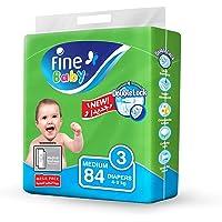 Fine Baby Diapers, DoubleLock Technology , Size 3, Medium 4–9kg, Mega Pack. 84 diaper count