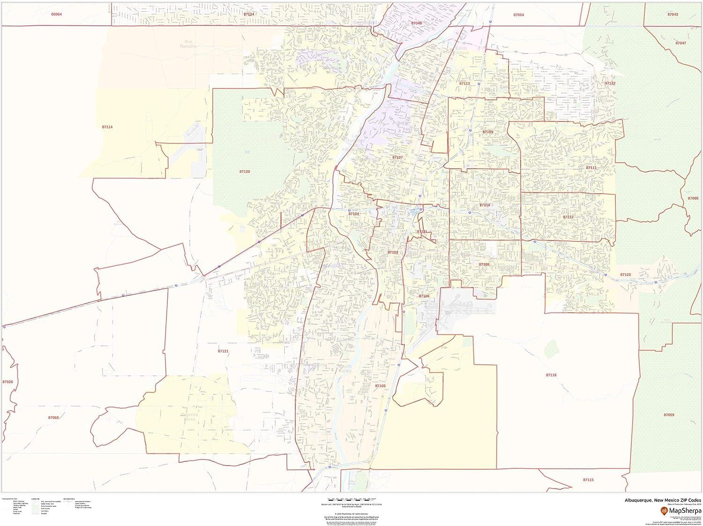 Amazon Com Albuquerque New Mexico Zip Codes 48 X 36 Paper