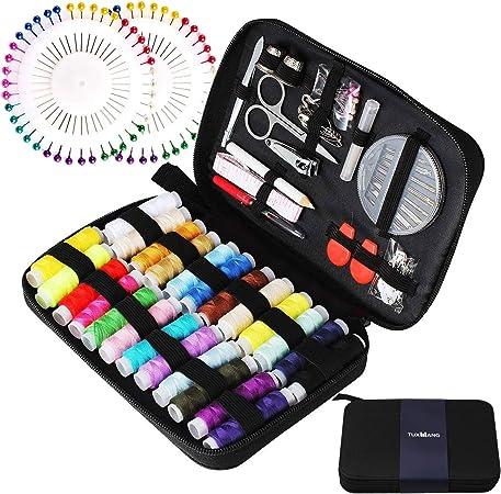 Tuxwang Kit de costura con 130 piezas Accesorios de costura premium con funda de transporte, 24 carretes de hilo - 1 paquete de agujas de coser (cuenta 30) Kit de costura de viaje: Amazon.es: Hogar