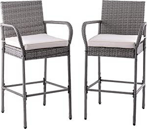 Sundale Outdoor Bar Stools Set of 2, 2 Piece Wicker Bar Stools Rattan Chairs, Patio Bar Chair with Arms, Cushion Beige, All-Weather Wicker Patio Furniture - Steel, Grey