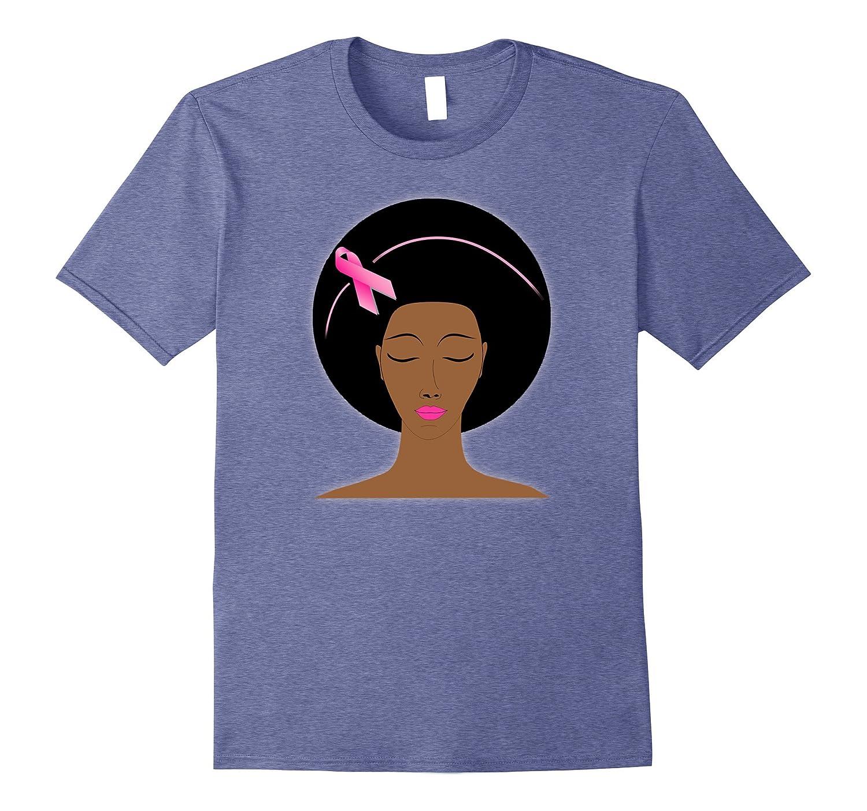 Breast cancer awareness pink ribbon black women afro T-shirt-FL