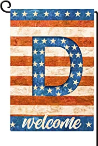 Agantree Art American Patriotic Monogram Letter D Small Garden Flag Waterproof Double Sided Yard Outdoor Decorative 12 x 18 Inch