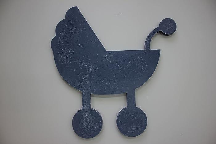 Decoración para pared con silueta de madera en forma de carrito bebé para habitaciones de bebés