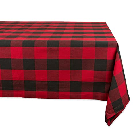 "DII 60x84"" Rectangular Cotton Tablecloth, Red & Black Buffalo Check  Plaid - Perfect for"