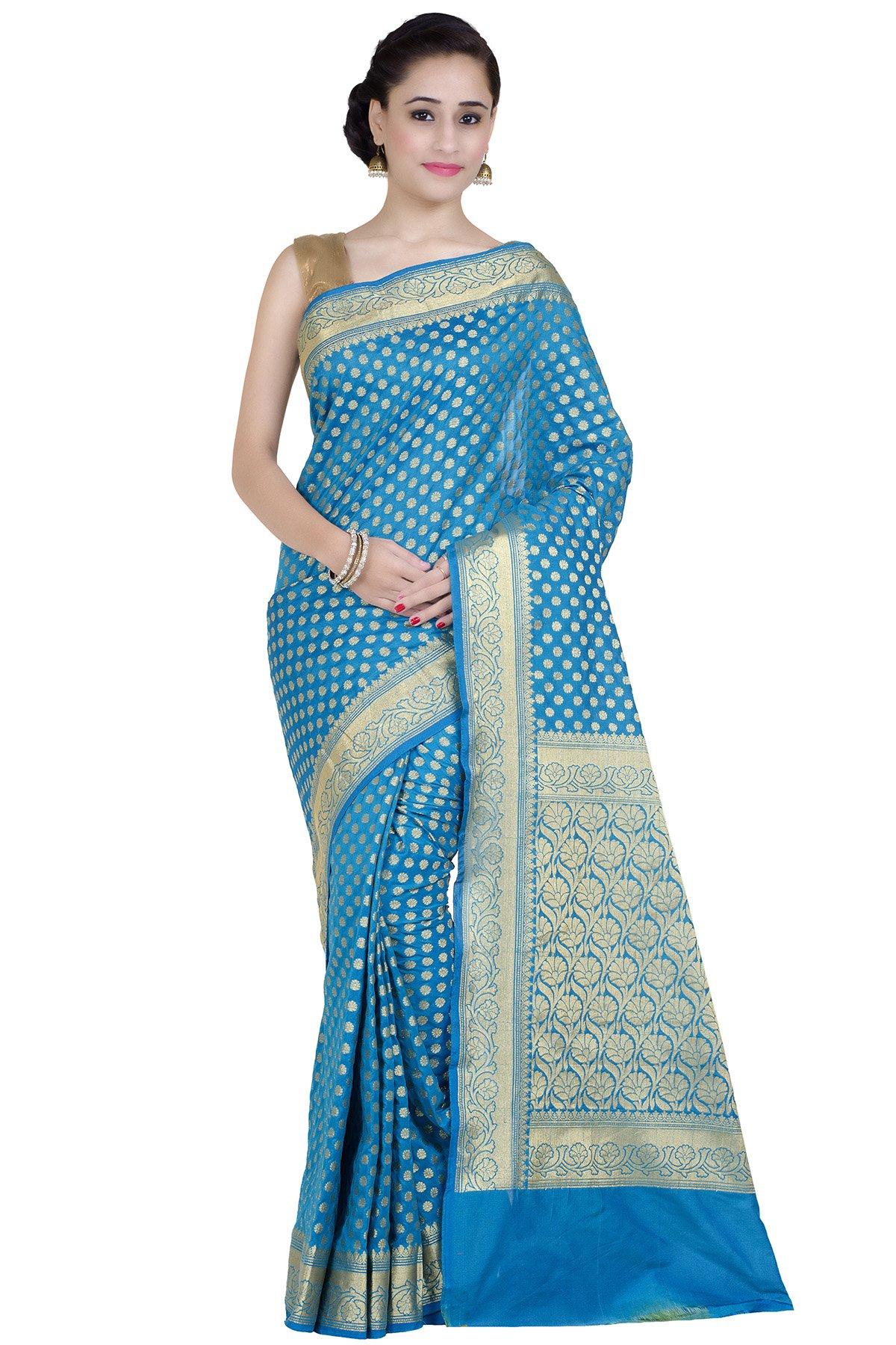 Chandrakala Women's Blue Kataan Silk Blend Banarasi Saree(1268BLU)