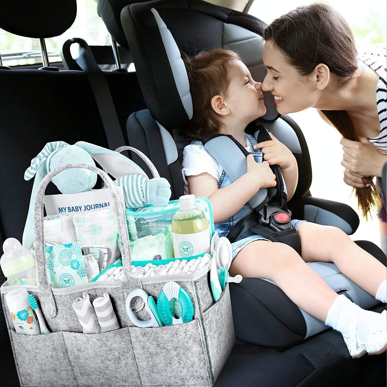 Baby Windel Caddy Tragbar Wickeltasche Organizer Handgemacht Multifunktionale Wickeltasche Aufbewahrungsbox Caddy mit Wechselbaren F/ächer f/ür Kinderzimmer Auto und Reisen Neugeborenen Geschenkkorb