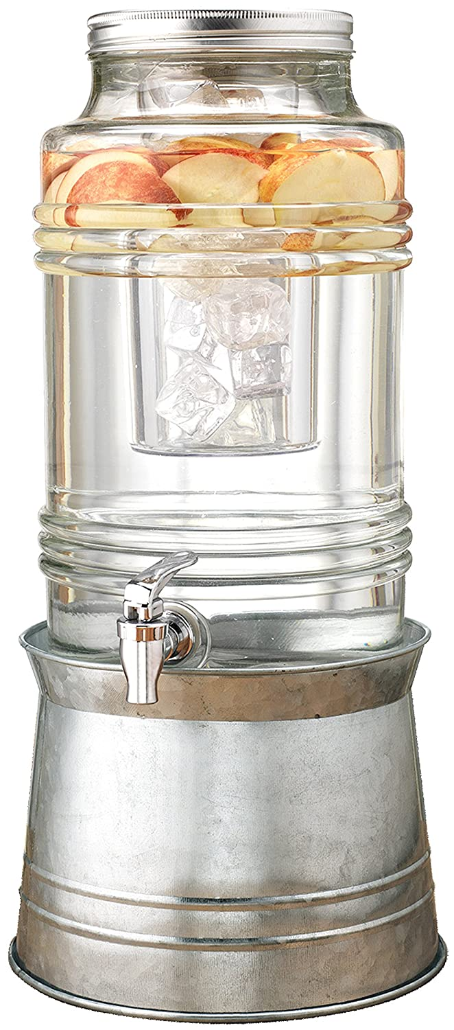 Circleware Breeze Glass Beverage Drink Dispenser with Stand Metal Base which Transforms to Metal Ice Bucket and Metal Lid + Fruit Infuser + Chrome Finished Spigot, HUGE 2.3 Gallons