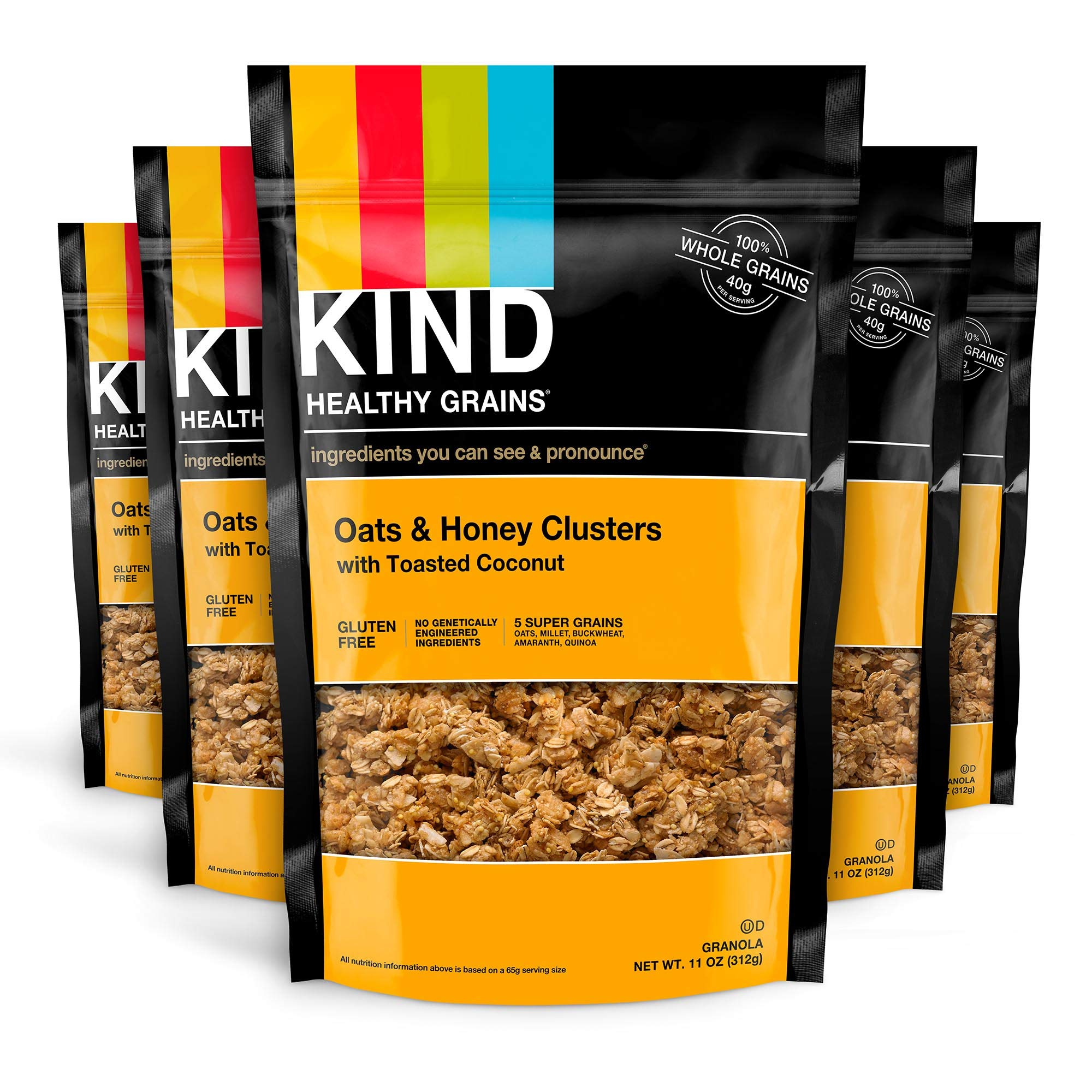 KIND Healthy Grains Clusters, Oats and Honey with Toasted Coconut Granola, Gluten Free, 11 Ounce Bags, 6 Count by KIND