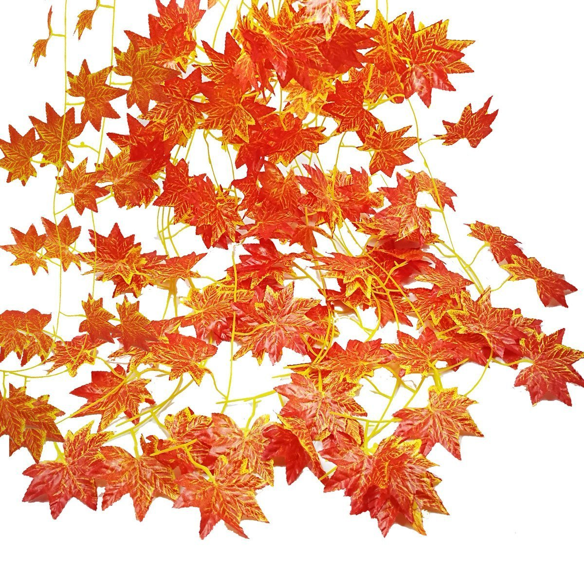 Autumn Garland, GoFriend 12 Strands (90 Feet) Artificial Maple Leaves Red Maple Vine Ivy Greenery Fall Decoration Hanging Plant for Autumn and Thanksgiving