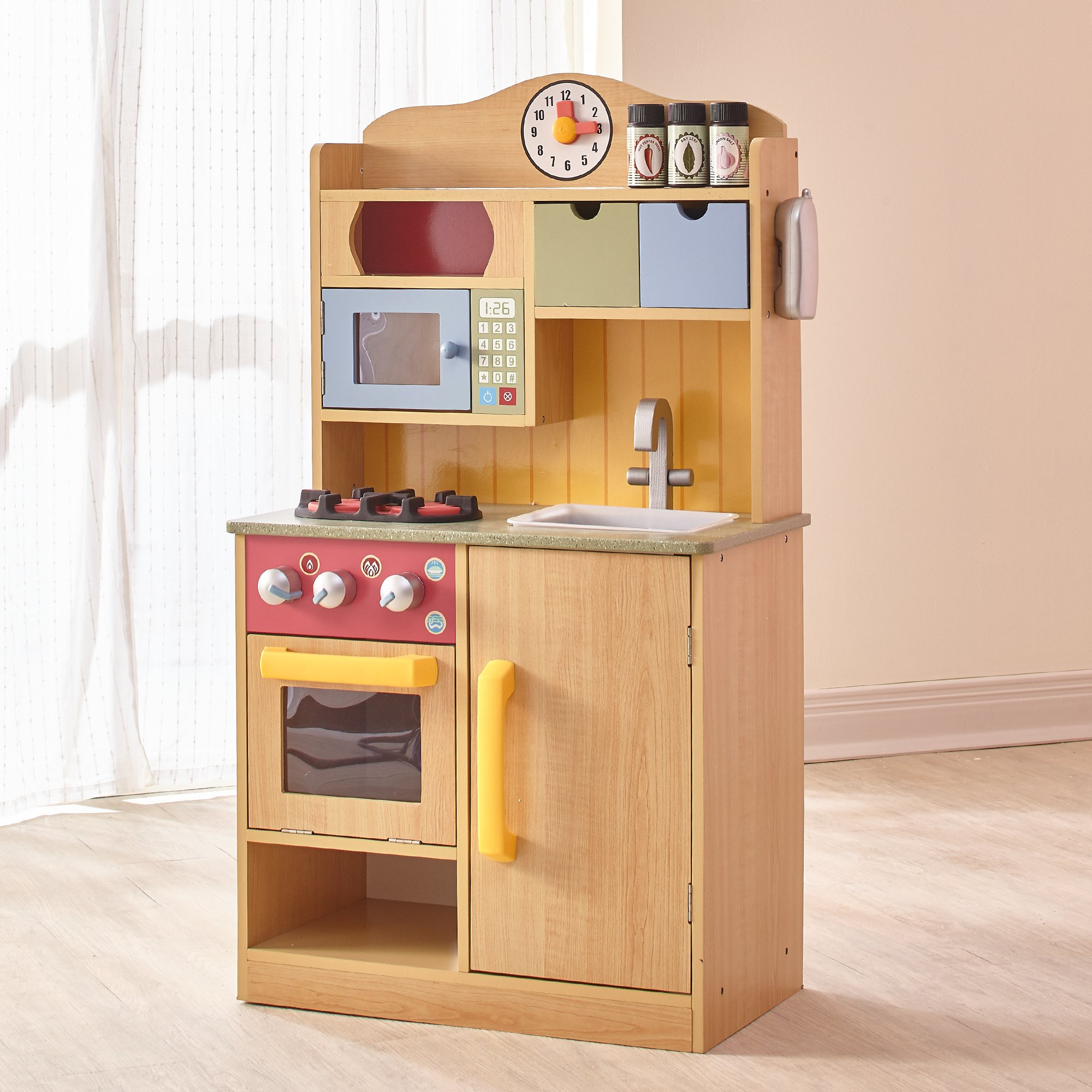 Teamson Kids - Little Chef Florence Classic Kids Play Kitchen | Toddler Pretend Play Set with Accessories - Wood Grain