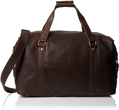 Lyle & Scott Leather Holdall, Sac de voyage duffle en cuir homme - Marron (Dark Brown),